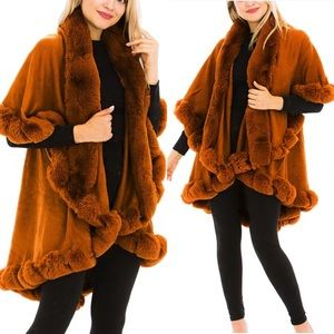 Luxury Double Layered Fx Fur Collared Jacket Coat